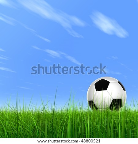 High resolution 3D soccer ball in green grass over a blue sky with a  plane trail