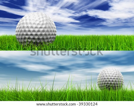 High resolution 3D white golf ball in green grass on a blue sky banner with clouds background - stock photo