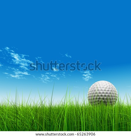 High resolution 3d white golf ball in green grass on a blue sky with clouds - stock photo