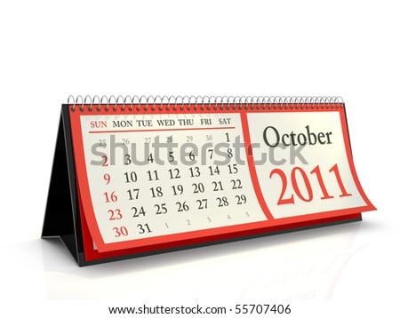 High resolution desktop calendar 2011. Week starts with Sunday. October - stock photo