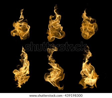 High resolution fire collection of isolated flames on black background. - stock photo