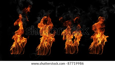 High resolution fire flames from torch, isolated on black background - stock photo