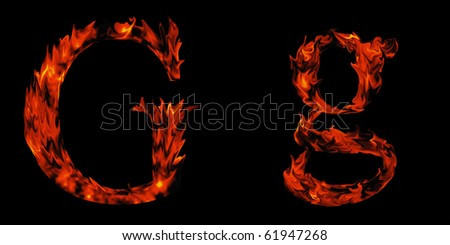 High resolution flame fonts isolated on black background - stock photo