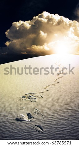 High Resolution Footprints in desert White Sands New Mexico USA - stock photo
