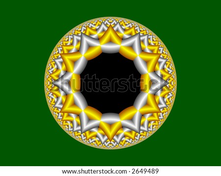 High resolution fractal rendering of Star of David - stock photo