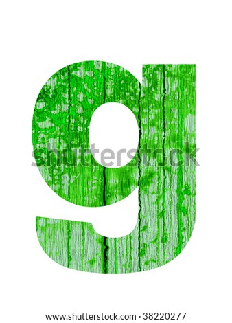 high resolution green and old g font isolated on white background