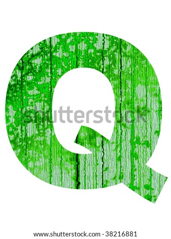 high resolution green and old Q font isolated on white background
