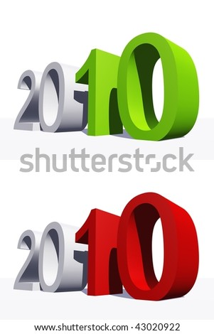 High resolution green and red 3D 2010 year isolated on white background - stock photo