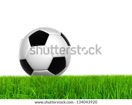 High resolution green, fresh and natural 3d conceptual grass isolated on white background with a soccer ball at horizon ideal for club,sport,recreation,competition, fun  and football designs - stock photo