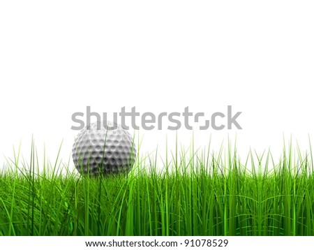 High resolution green, fresh and natural 3d conceptual grass isolated on white background with a golf ball at horizon ideal for club,sport,business,recreation,competition or fun design - stock photo