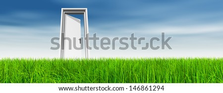 High resolution green, fresh and natural 3d conceptual grass over a blue sky background, a opened door at horizon ideal for religion,home,recreation,faith,business,success,opportunity or future - stock photo
