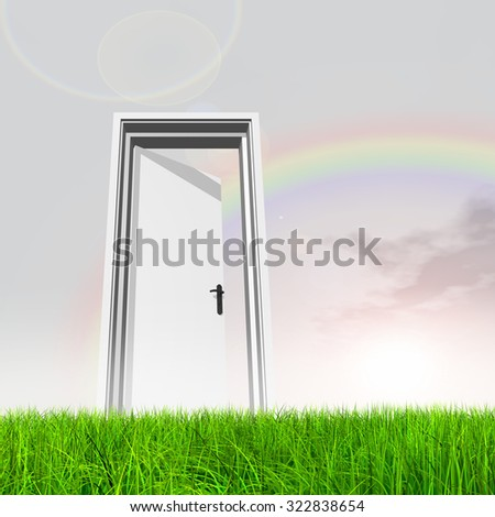 High resolution green, fresh and natural 3d conceptual grass over a blue sky background, a opened door at horizon for religion, home, recreation, faith, business, success, opportunity or future