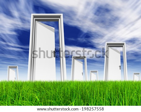High resolution green, fresh and natural 3d conceptual grass over a blue sky background, opened doors at horizon ideal for religion, home, recreation, faith, business, success, opportunity or future - stock photo