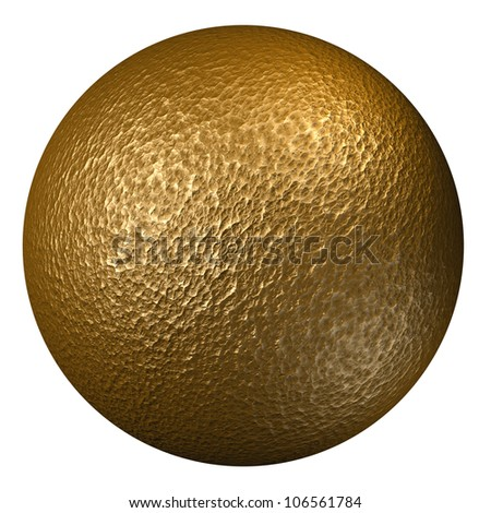 High resolution hammered bronze sphere isolated on withe background