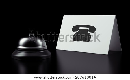 High Resolution Hotel Bell Contact Icon - stock photo