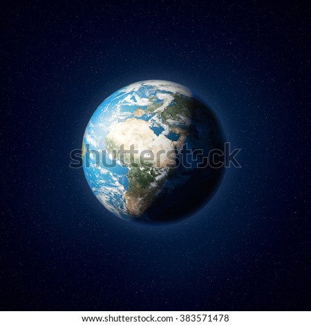 High resolution illustration of planet Earth as seen from space. Elements of this image are furnished by NASA