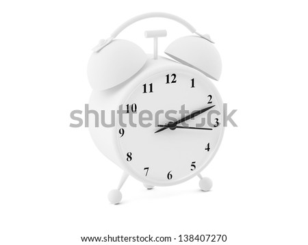 High resolution image. 3d rendered illustration. Alarm clock isolated on white background.