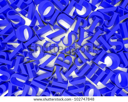High resolution image. 3d rendered illustration. Background of alphabets. - stock photo