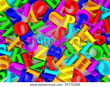 High resolution image. 3d rendered illustration. Background of alphabets.