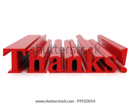 High resolution image. 3d rendered illustration. The word thank you. - stock photo