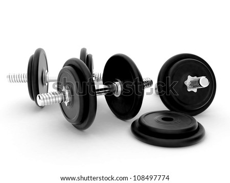 High resolution image dumbbell. 3d rendered illustration. The symbol of fitness.