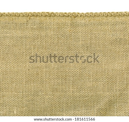 High Resolution Image Of Rough Irregular Weave Burlap Material With One Finished Woven Edge Great