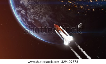 High resolution image of Space shuttle taking off on mission. Elements furnished by NASA