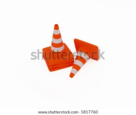 High resolution image of traffic cones. 3d illustration.