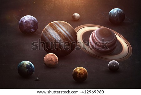 High resolution images presents planets of the solar system on chalkboard. This image elements furnished by NASA - stock photo