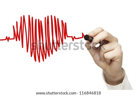 High resolution man drawing chart heartbeat - stock photo