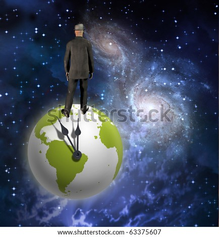 High Resolution Man on Earth with Clock Hands - stock photo