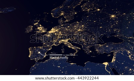 High Resolution Map Composition of Europe Pinpointing Madrid, Spain (Elements of this image furnished by NASA)