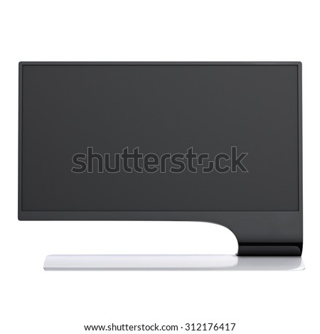 High resolution monitor front view black and white colored and modern design. 3d graphic object on white background isolated