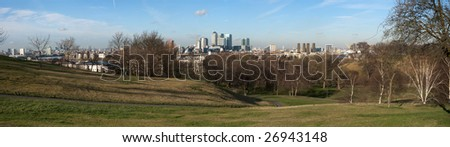 High resolution panorama of Greenwich Park in London during a sunny winters day. With Canary Wharf in the background.