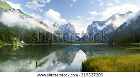 high resolution panorama of Lago di Dobiacco lake in Italy - stock photo