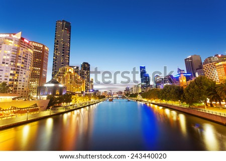 High resolution panorama of Melbourne at night - stock photo