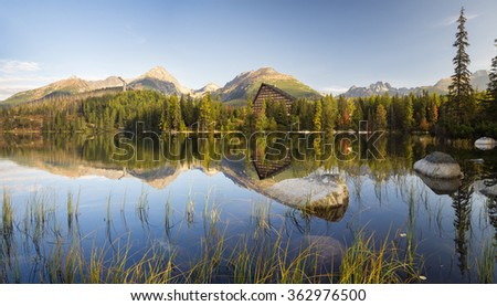 High resolution panorama of the lake in Strbske Pleso