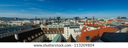 High resolution panorama of Vienna from Stephansdom - cityscape of Austrian capital city.