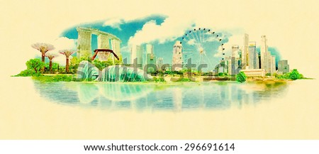 high resolution panoramic watercolour image illustration of singapore - stock photo