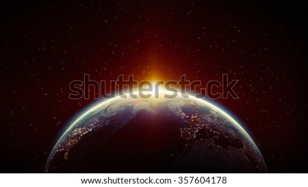 High Resolution Planet Earth view. The World Globe from Space in a star field showing the terrain and clouds. Elements of this image are furnished by NASA - stock photo