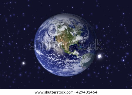 High Resolution Planet Earth view. The World Globe from Space in a star field showing the terrain. Elements of this image are furnished by NASA. - stock photo