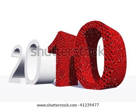 High resolution red 3D 2010 year isolated on white background - stock photo