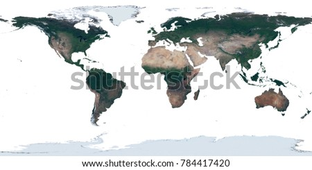 High resolution satellite image earth equirectangular stock high resolution satellite image map of earths land in equirectangular projection isolated on white gumiabroncs Images