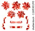 High resolution set of red gift bows with ribbons - stock photo