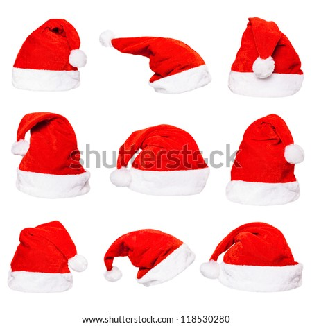 High resolution set of red Santa Claus hats isolated on white background - stock photo