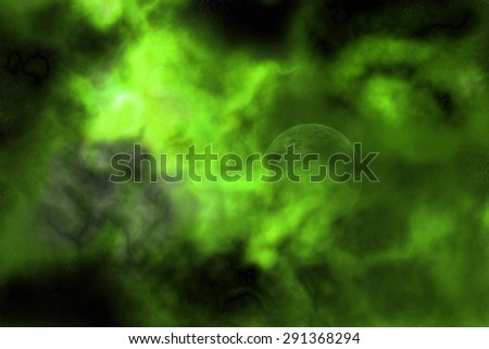 High resolution space background of a planet hidden in a green and yellow nebula - stock photo