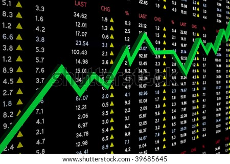 high resolution stock market board with graph, showing a financial growth - stock photo