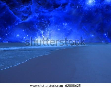 High Resolution Surreal Sea - stock photo