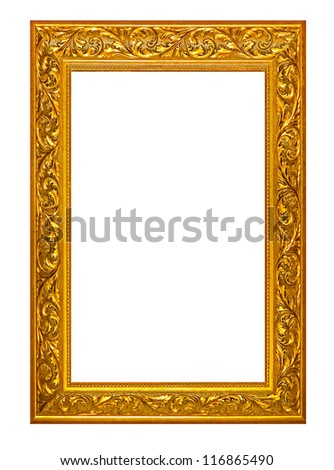 high resolution victorian wood cut frame style cutout on white isolated with working path, gold