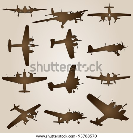 High resolution vintage old set of brown planes drawings on a beige background. It is a group or collection of aircrafts ideal for grungy, travel, flight,transport,retro,antique or business designs - stock photo
